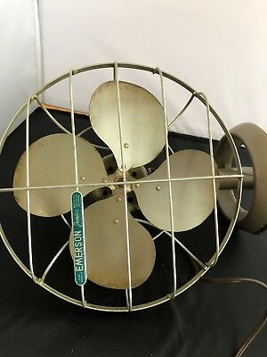 Vintage 1950's Emerson JR 2650-K Oscillating Desk table Fan ( RUNS GREAT )
