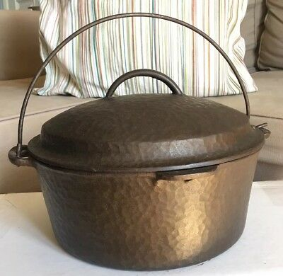 Vintage Hammered Cast Iron No. 8 Dutch Oven c. 1935 Self-Basting Lid And Handle