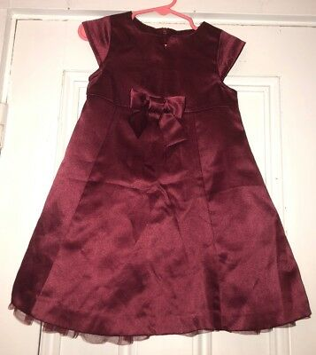 Vintage Gymboree Baby Girls Wine Colored Satin Bow Party Holiday Dress Sz 18-24m
