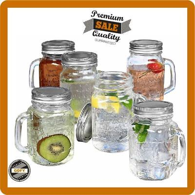 Mason Jar Mugs with Handles Old Fashioned Drinking Glass Set 6 16oz Cups