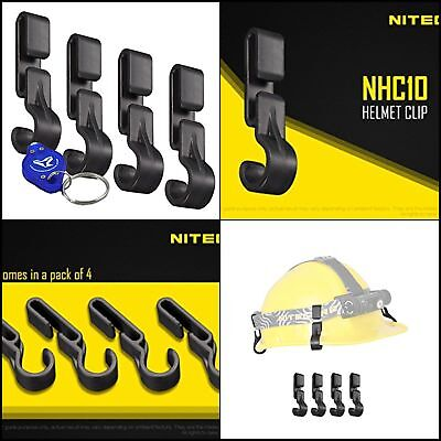 4 PK Nitecore NHC10 Headlight Headlamp Helmet Clips for Thin Edged or Hard Hats