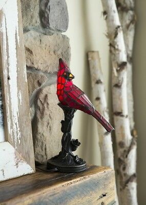 """New Stained Glass Tiffany Style Cardinal Lamp 13.5"""" Tall Night Light Handcrafted"""