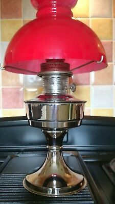 Vintage Aladdin Oil Lamp Original No. 23 With Red Shade - Simply Stunning