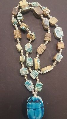 Vintage Egyptian Revival Faience Scarab Beetle Necklace Turquoise Blue