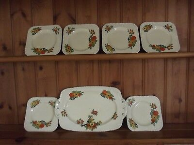 * Vintage Sandwich Plate And 6 Square Small Plates *