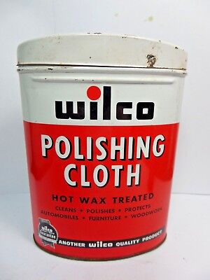 Vintage Wilco Polishing Cloth Tin Can Automotive Advertizing 1950's With Cloth