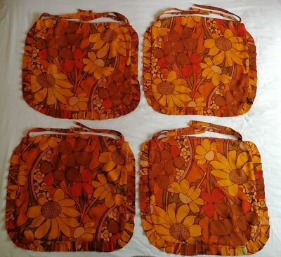 Vintages  Retro x4 Orange Floral Hand Made Chair Cushion covers with Tie Backs