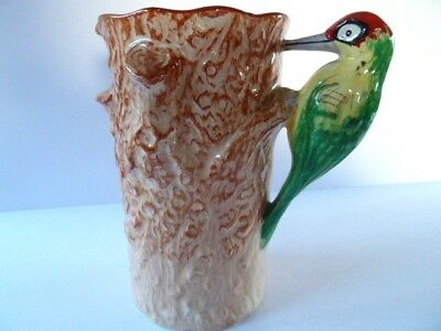 WEATHERBY FALCON WARE JUG with WOODPECKER HANDLE---8 INCHES TALL
