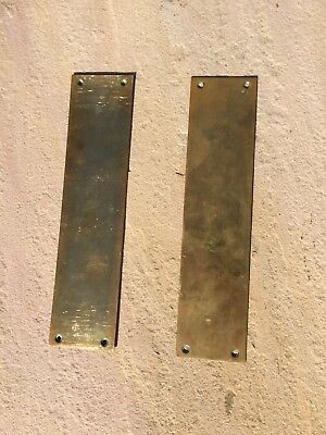Pair of Antique Solid Brass Door Finger Plates