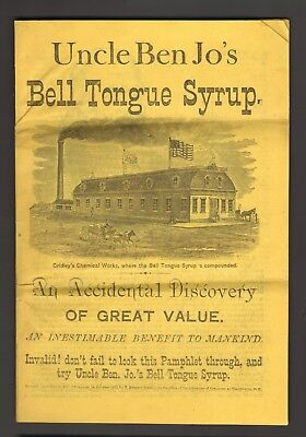 """Uncle Ben Jo's Bell Tongue Syrup"" Bell Tongue Plant From South America. 1872"