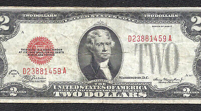 1928D $2 RED Seal Legal Tender *UNITED STATES NOTE* Old US Paper Money!