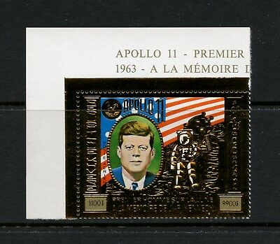 Cambodia 1974 Kennedy space Apollo 11 GOLD FOIL airmail 1v. MNH N266