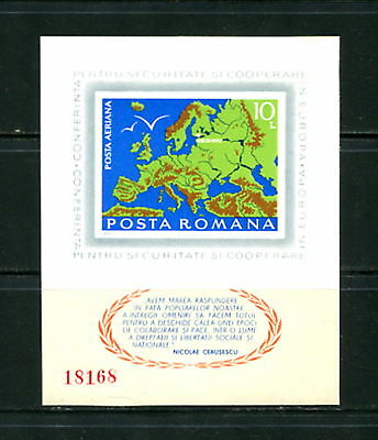 Romania 1975 Security Conference maps IMPERF sheet MNH E798