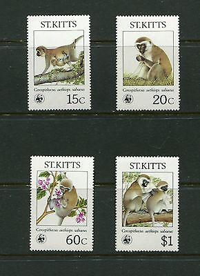 FAUNA/WWF/MONKEY - St. Kitts - 1986 set of 4 (SC 189-92) -MNH- C233