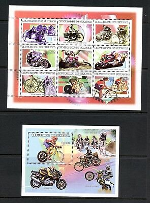 Senegal 1999 #1389, 1397 sports cycling motorcycles bicycles sheets MNH L110