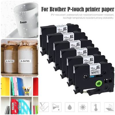 6 Pack Black on White 12mm 8m Label Tape Compatible For Brother P-touch Printer
