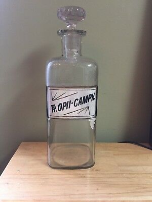 ANTIQUE 1889 W.T.CO. LABEL UNDER GLASS APOTHECARY (Pharmacy) BOTTLE