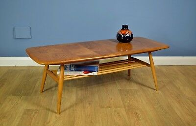 Mid Century Retro Ercol  Elm Coffee Table with Undertier Excellent 1960s