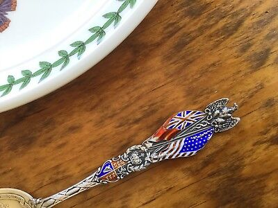 Gorham Sterling Silver ENAMEL H16 US FLAGS Spoon Anglo-Saxon Alliance Eagle XMAS