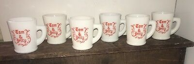 Lot Of 6 Vintage McKEE White Milk Glass Christmas TOM & JERRY Mugs GUC