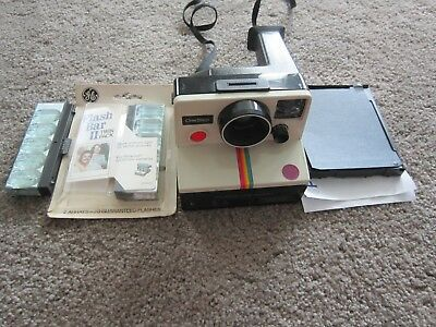 Vintage Polaroid SX-70 One Step Land Camera White Rainbow Stripe w/ Film/ Flash