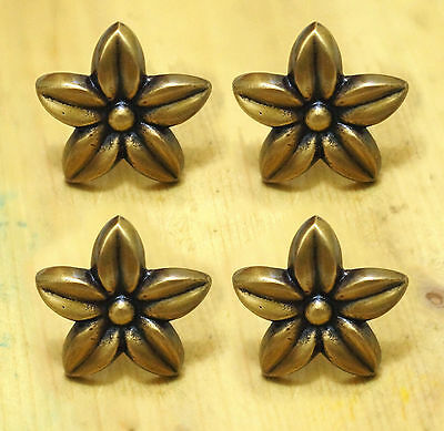 Lot of 4 pcs BRASS Antique CHERRY BLOSSOMS Cabinet Door Brass KNOB Drawer Pulls