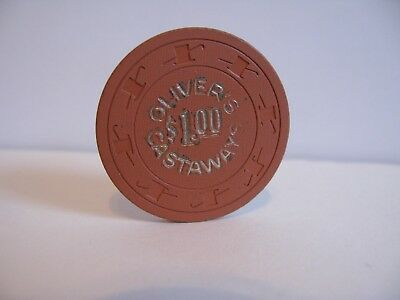"""$1.00 Oliver's Castaway's Casino Chip   Las Vegas, NV.  rated """"O"""""""