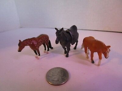CREATA Micro Mini Whinnie Set of 3 Horses Dapple, Palomino and Draft Horse Vtg.