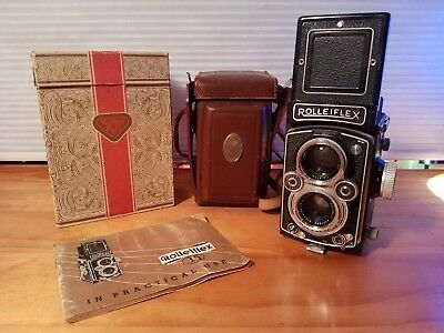 Rolleiflex 3.5 with ORIGINAL BOX + manual, leather case -- prime condition