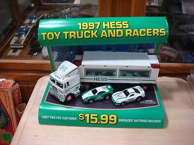 Very Rare 1997 Hess Toy Truck & Racers With Counter Display