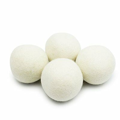 4 Pack Wool Dryer Balls XL Eco-Friendly Natural Unscented Fabric Softener Static