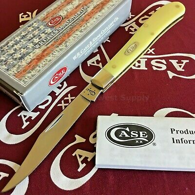 Case XX Slimline Trapper Folding Knife Stainless Blade Yellow Synthetic Handle