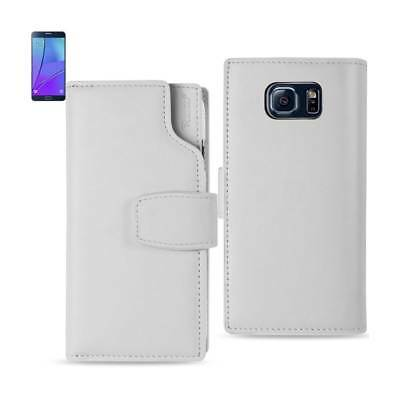 Samsung Galaxy Note 5 Genuine Leather Wallet Case With Open Thumb Cut In Ivory