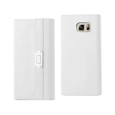 Samsung Galaxy Note 5 Genuine Leather Rfid Wallet And Metal Buckle Belt In Ivory
