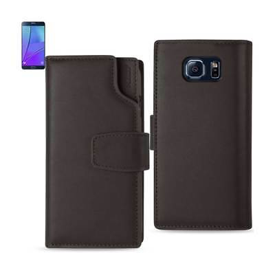 Samsung Galaxy Note 5 Genuine Leather Wallet Case With Open Thumb Cut In Umber