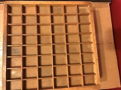"""Small Vintage Printers Typset Letter Tray 12-1/2"""" Long x 12-1/2"""" wide x 1"""" deep"""
