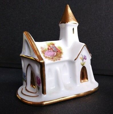 Limoges French Miniature Church Porcelain w/ Gold Trim Painted Flowers & Couple