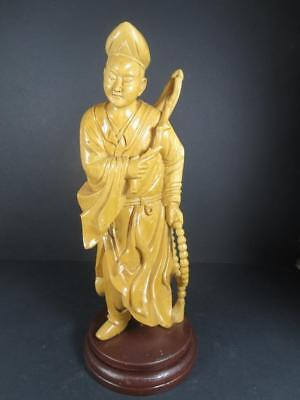 Vintage Chinese Carved Wooden Figurine Man Fly Whisk Beads  (#75-2)