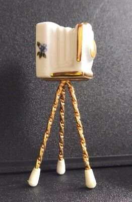 Limoges French Miniature Camera Tripod Porcelain Gold Trim Painted Flowers