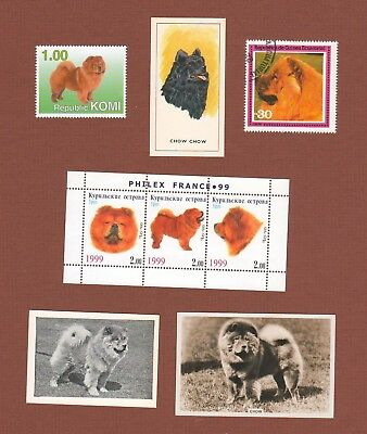 Chow Chow dog stamps and cigarette trade cards set of 8