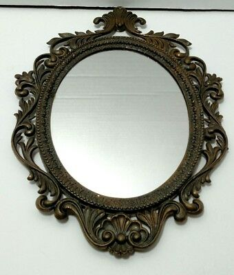 Vintage Cast Metal Ornate Small Wall Hanging Mirror Made In Italy