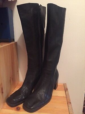 6818480beb55 Jc Penney Women s Junior Size 8 1 2 Buckle Side Zip Leather Brown Mid Calf  Boots.