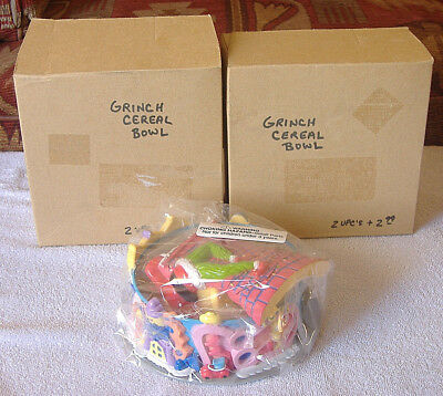 """""""2"""" NEW Kelloggs / Dr. Seuss {HOW THE GRINCH STOLE CHRISTMAS CEREAL BOWL LOT} nr"""