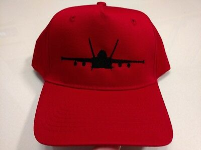F-18 Hornet Strike Fighter Silhouette Black Embroidery on Red Hat New
