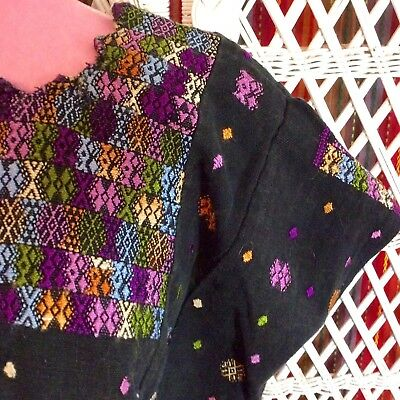 Mexican Hand Embroidered Woven Cotton Huipil Oaxaca Art to Wear Decor Vintage