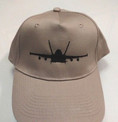 F-18 Hornet Strike Fighter Silhouette Black Embroidery on Tan Hat New