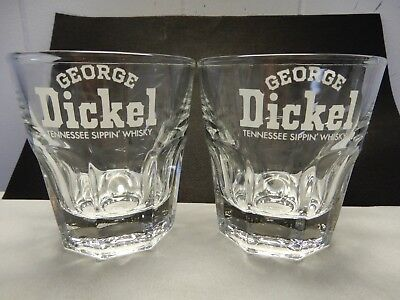 Set of 2 GEORGE DICKEL Tennessee Whisky Sippin' Glasses - LIBBEY DURATUFF  Nice!