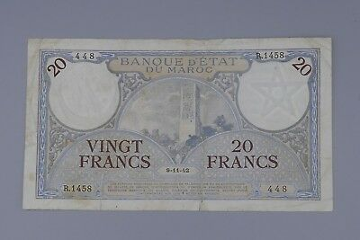 Morocco 20 Francs Note 1942