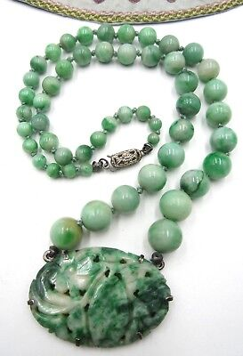 Antique vintage Chinese jade bead and pendant sterling silver clasp necklace