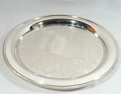 """Silver Plate 12 1/4""""  Round Drinks Liquor Serving Tray WM ROGERS  Excellent C."""